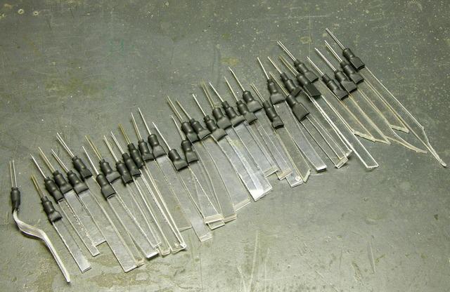 LEDs heatshrinked to plastic strips
