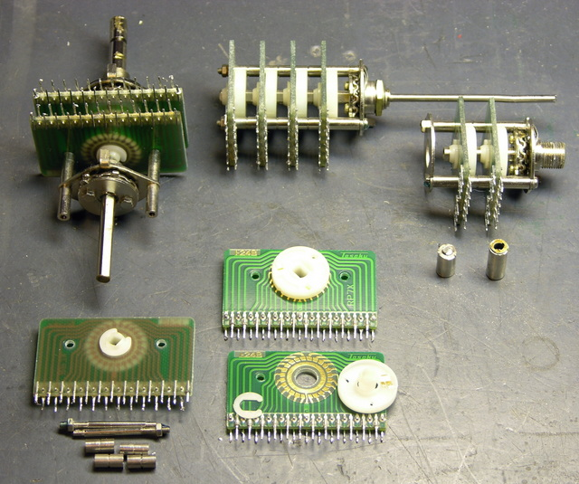 Rotary multi-position switches, partially disassembled