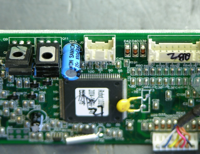 Roomba Scheduler main board with dirt sensor jack replaced