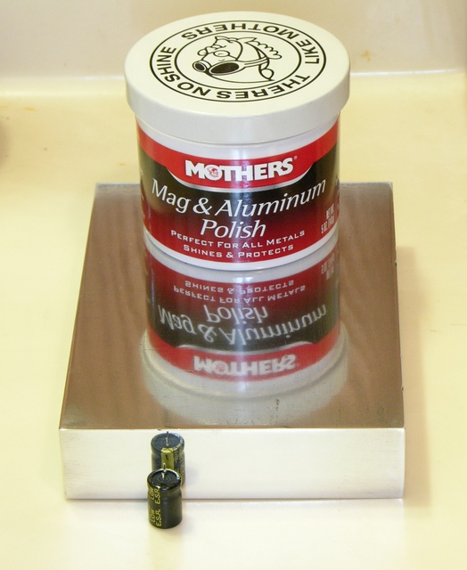 Aluminum block polished with Mothers Mag & Aluminum Polish