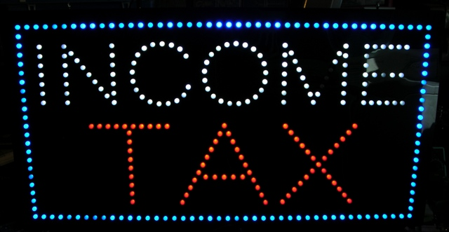 LED income tax sign with dark LEDs
