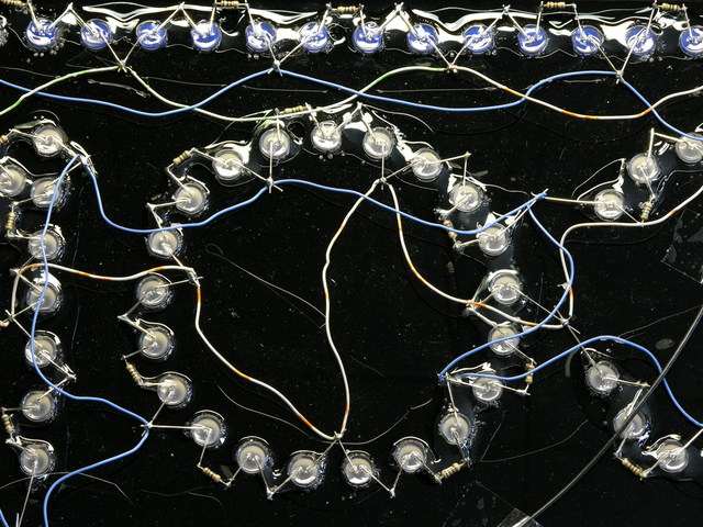 LED sign wiring closeup