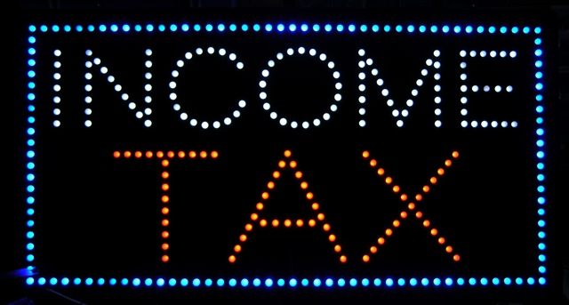 LED income tax sign, repaired