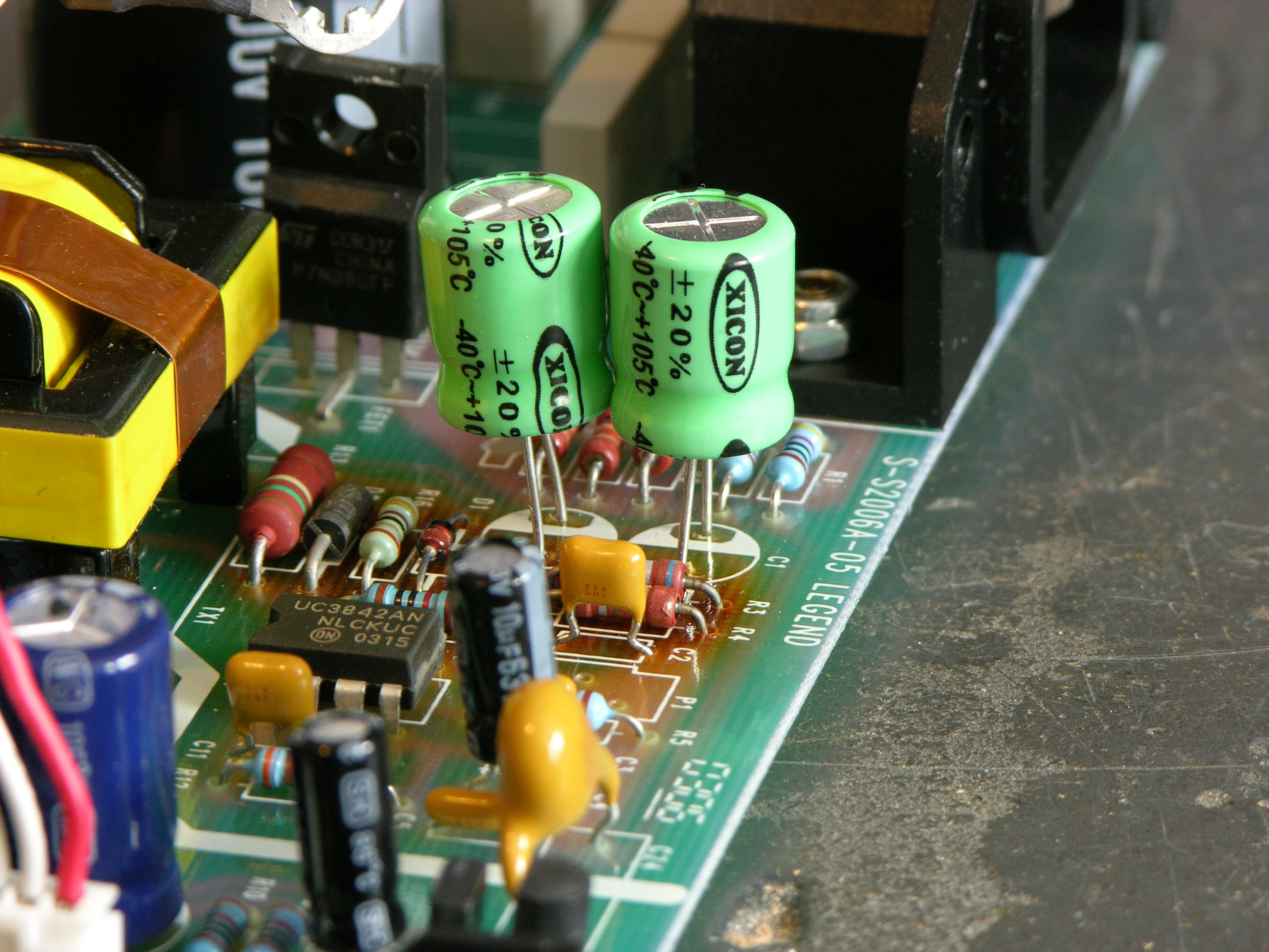 Repairing A Soundcraft Spirit E6 Mixer Switching Power Supply Changing The Output Voltage Of Ringing Circuit Board With Replacement Capacitors