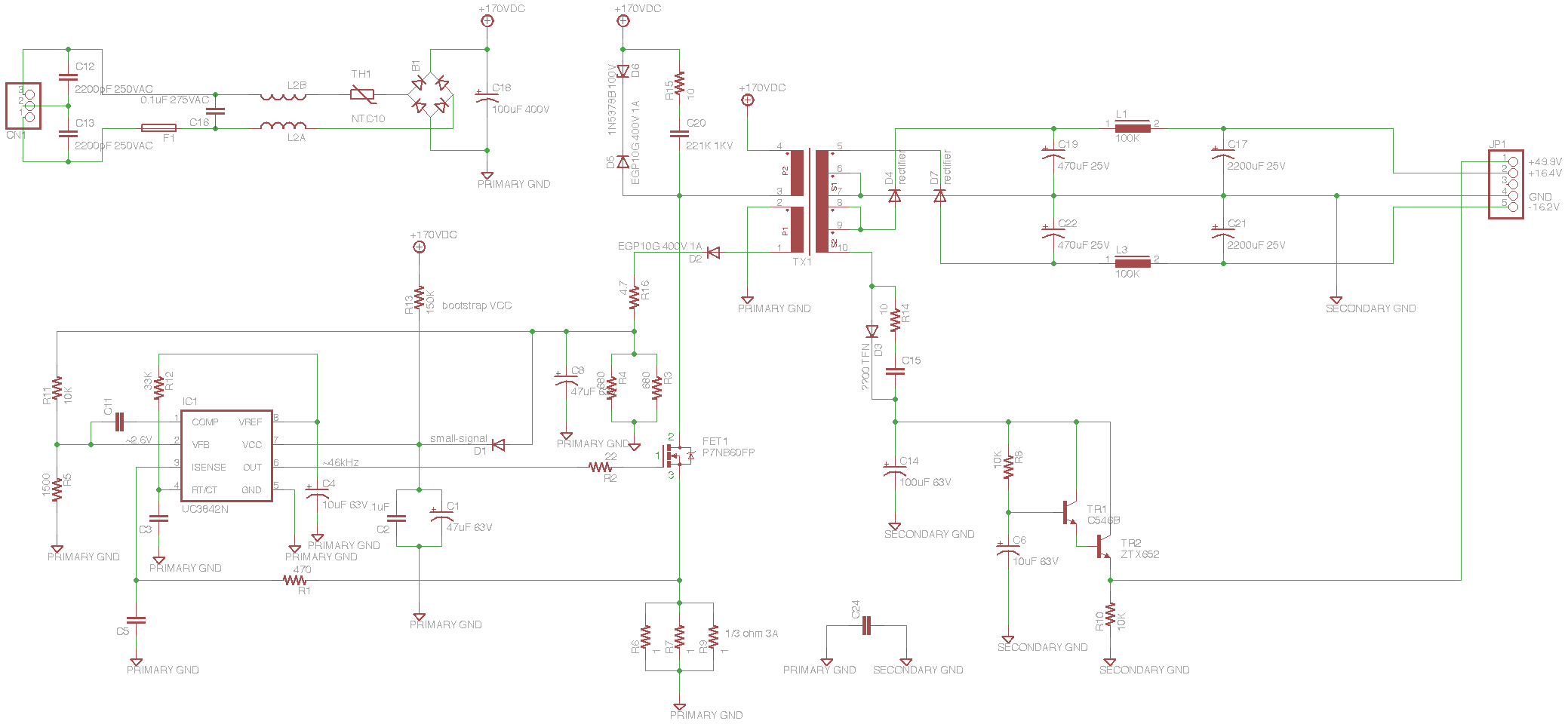 Soundcraft Spirit E6 mixer power supply schematic