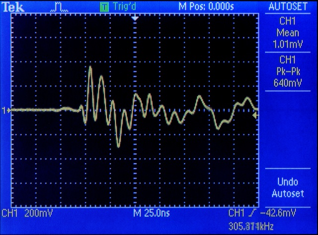 Oscilloscope shot of 10MHz noise on ground plane