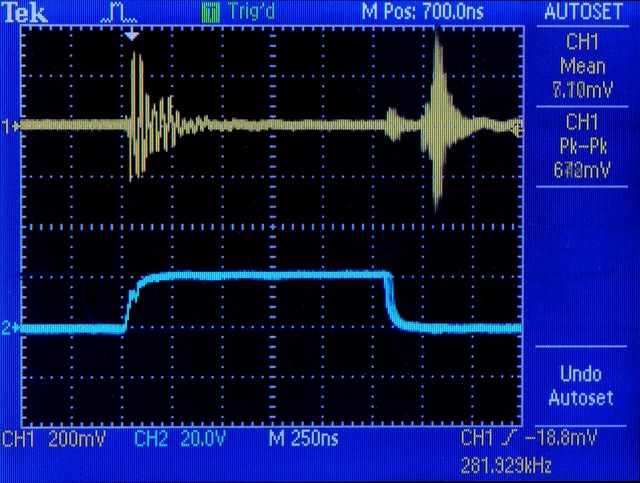 Oscilloscope shot of FET gate and power supply ringing
