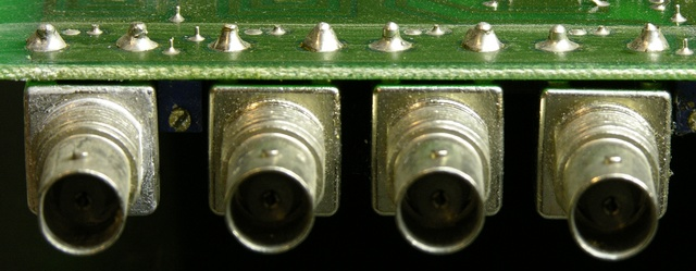 Four PCB- / panel-mount BNC connectors