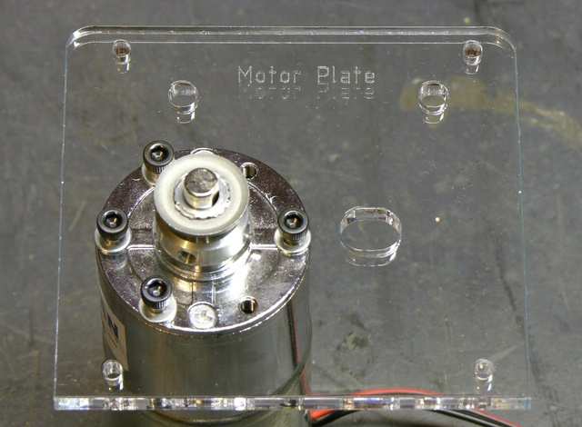 MakerBot CupCake extruder motor with extra washers to shim motor plate