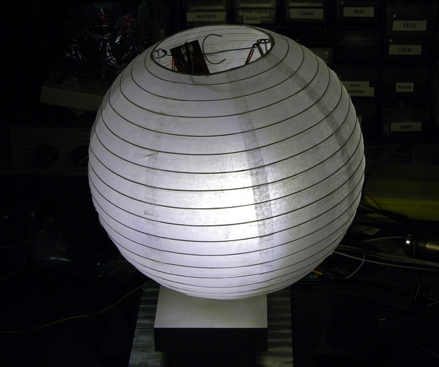 Paper lantern with LED lighting in the dark