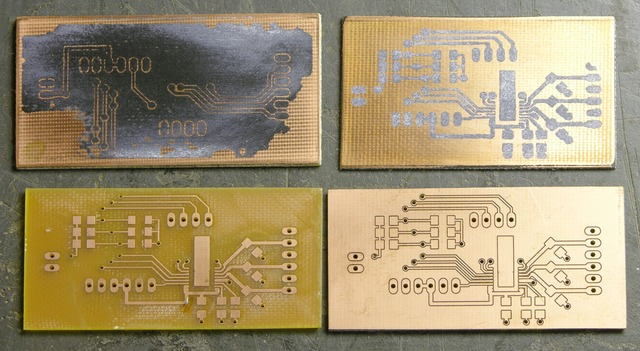 Circuit boards: Iron-on transfer attempts, milled