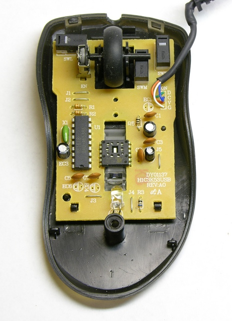 Interior of optical mouse