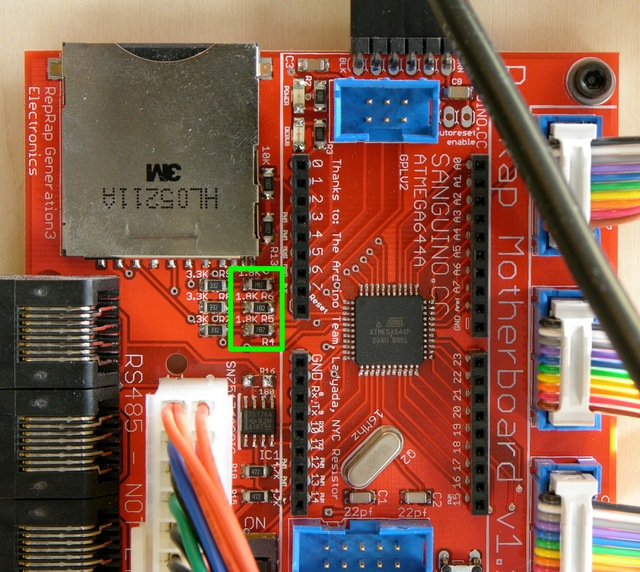 MakerBot CupCake motherboard with SD card pull-up resistors highlighted