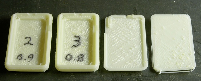 Four MakerBot CupCake prints with too high an infill density