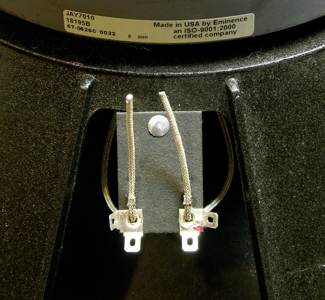 Eminence JAY7010 replacement voice coil leads being attached to speaker terminals