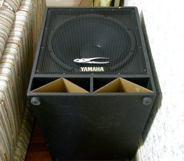 Yamaha SW1181VS subwoofer after driver reconing, on end