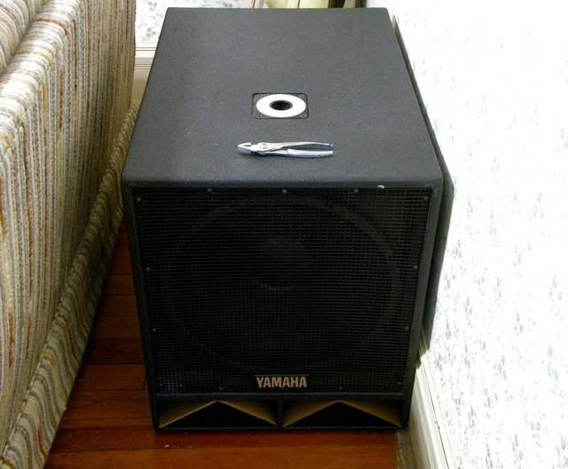 Yamaha SW1181VS subwoofer after driver reconing, in position