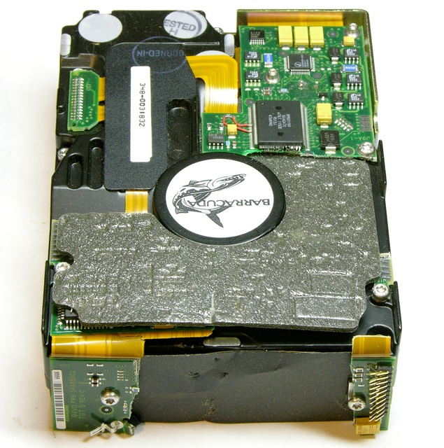 Seagate Barracuda hard drive with PC boards torn away