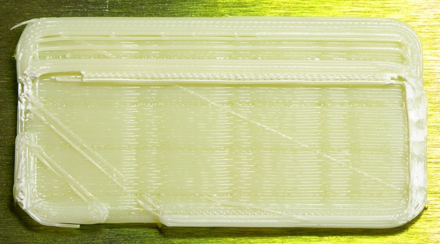 Case printed by MakerBot CupCake with pattern from uneven filament feed