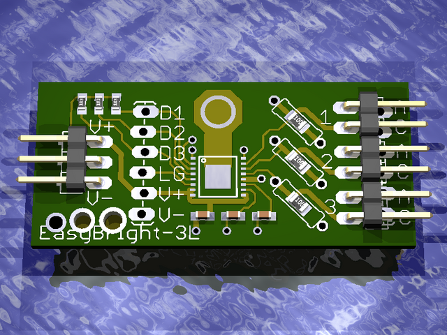 eagle3d view of LED driver prototype