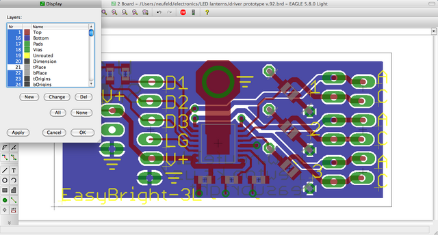 EAGLE PCB layout with tPlace layer switched off