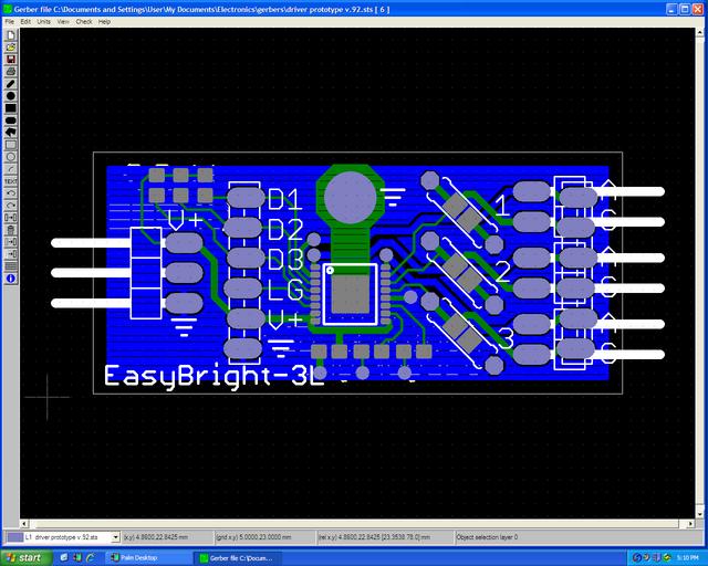 Viewplot Gerber view of LED driver prototype