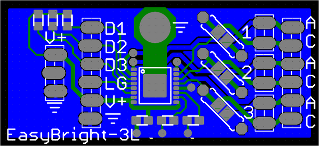 Viewplot Gerber view of revised LED driver silkscreen