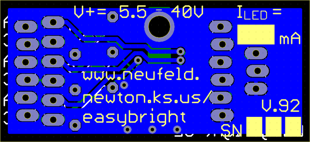 Viewplot Gerber view of LED driver with working drill holes, back