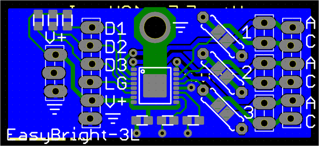 Viewplot Gerber view of LED driver with working drill holes