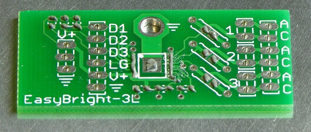 EasyBright-3L constant-current LED string driver PCB with solder paste