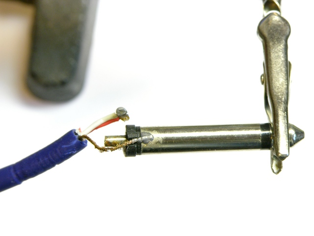 RoHS solder (?) on audio patch cord