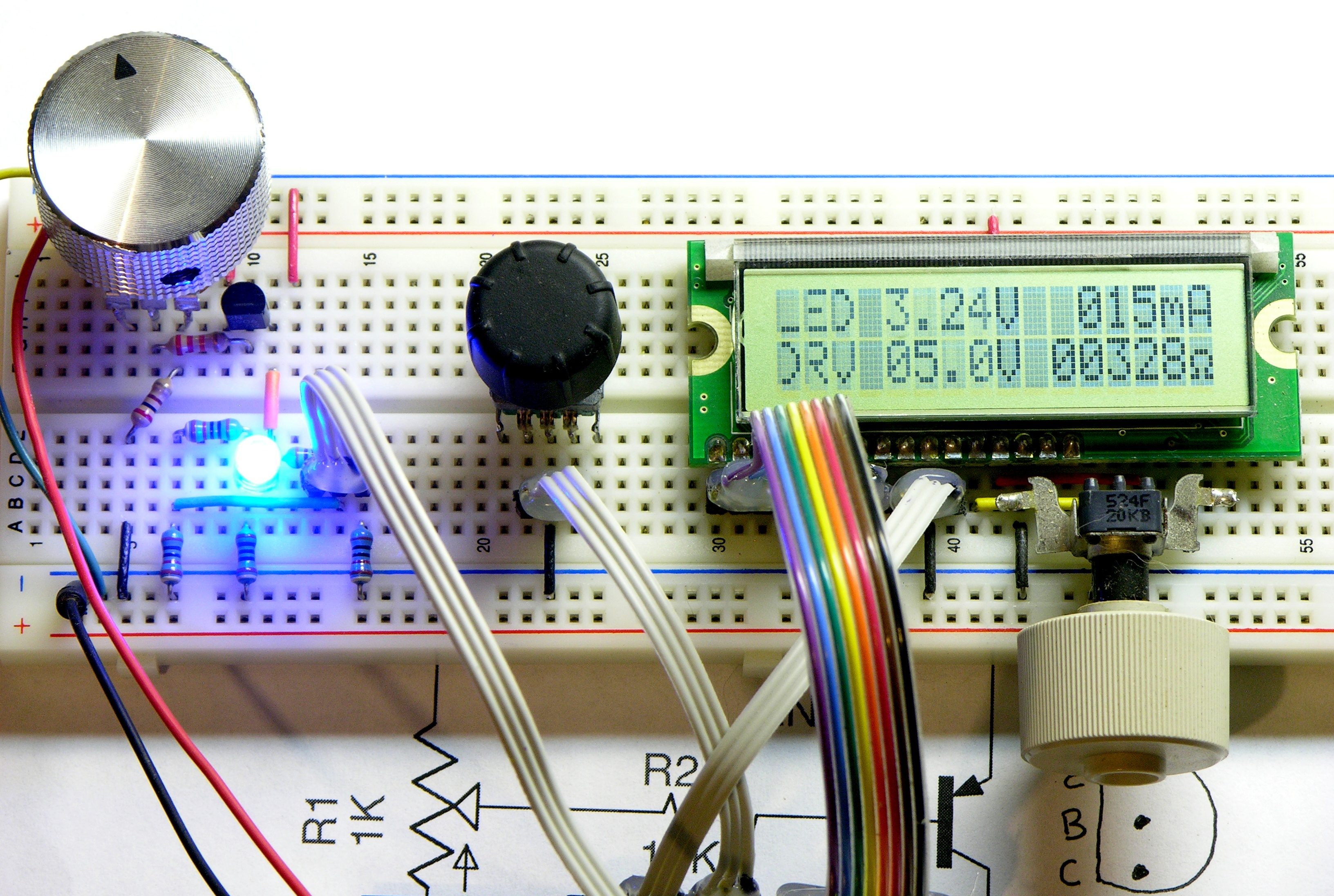 Transistor Based Variable Current Drive For Led Calculator Keiths Voltage Divider Prototype With