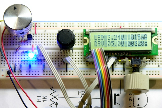 LED calculator prototype with transistor current drive