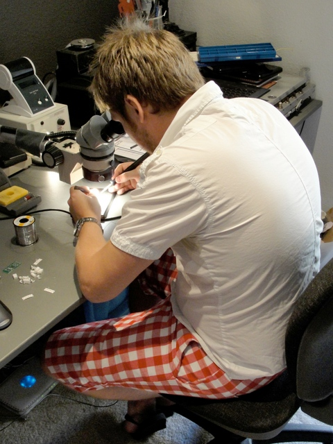 Ben Wynne soldering an EasyBright