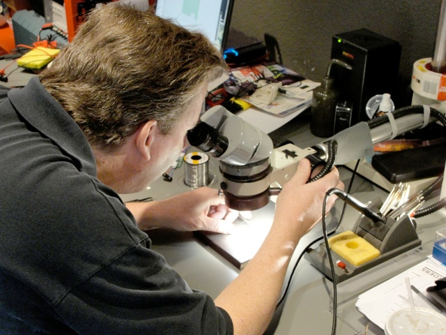 Scott Smith soldering an EasyBright