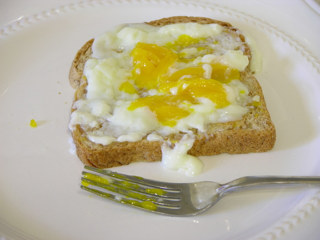 Toast spread with egg cooked at 64C for 75 minutes