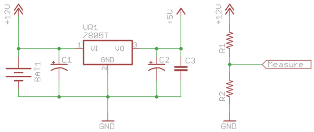 Battery and voltage regulator schematic