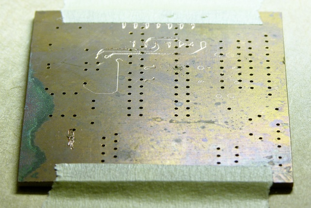 Old PC board barely scratched by milling attempt