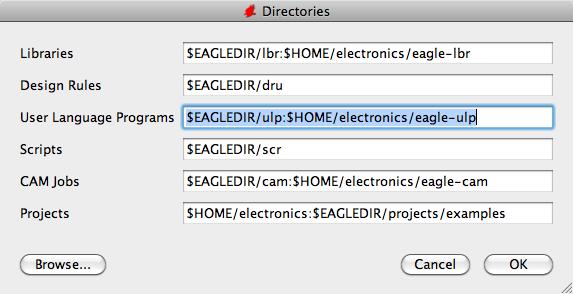 EAGLE directory path configuration dialog