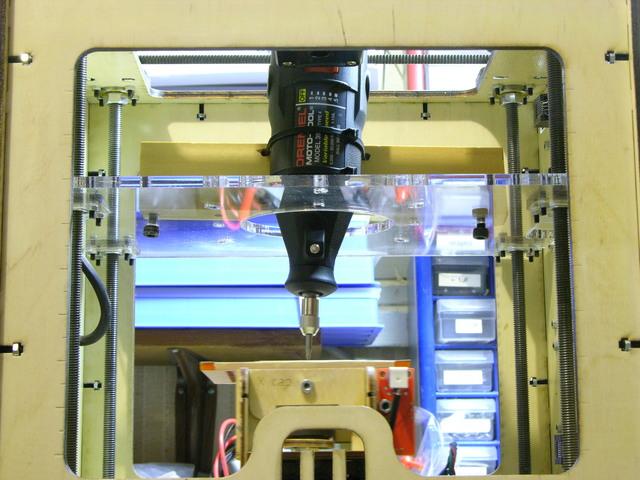 Dremel mounted in MakerBot CupCake (lower view)