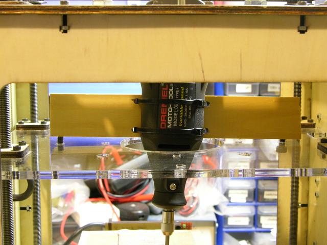 Dremel mounted in MakerBot CupCake (upper view)