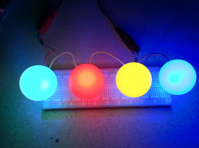 Ping-pong balls with LEDs