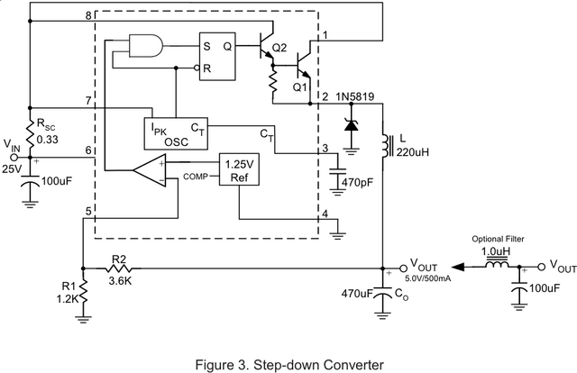 Sample step-down circuit using RT34063APS DC-DC converter
