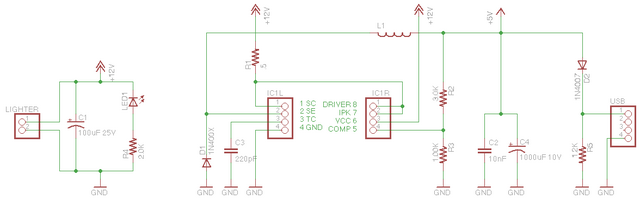 Schematic of automotive USB power adapter
