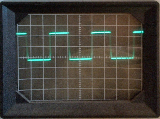 Pulse-width-modulated heater signal on oscilloscope