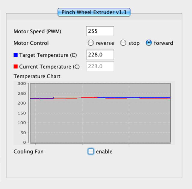 ReplicatorG control panel with temperature failing to reach set point