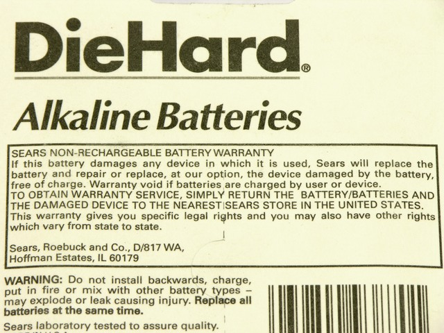 DieHard alkaline cell warranty