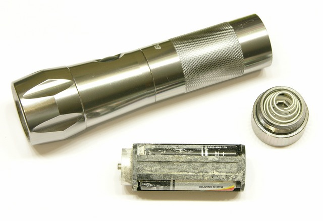 LED flashlight damaged by leaking batteries