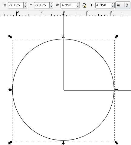 Inkscape circle with position and dimensions