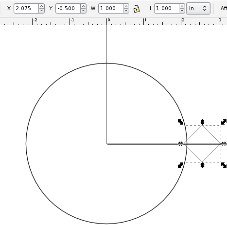 Inkscape circle and notching square with position and dimensions